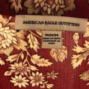 American Eagle Outfitters Dresses - AE Red Floral Long-Sleeved Dress
